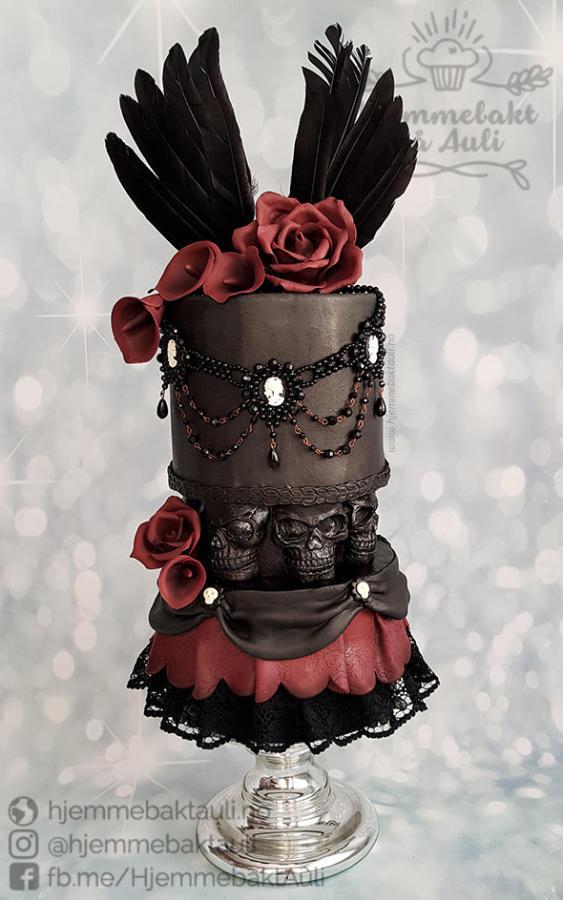 #Cake 🍰 Awesome of the Day: #Gothic Black Skull 💀 & Red Roses 🌹 Pièce Montée #Weddingcake 💍 #Birthdaycake 🎂 via @CakesDecor #SamaCake