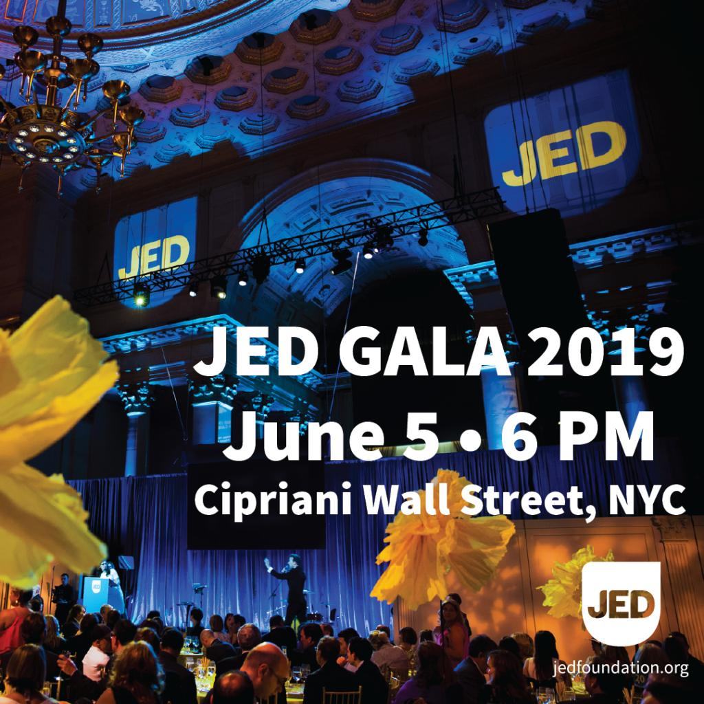Today's the day! We're so excited for one of our favorite nights of the year, #JEDgala2019, celebrating those who've helped us to make incredible progress in protecting the emotional health among our nation's teens & young adults. @PoppyHarlowCNN @GraceEGold @Brittanysnow @Chold1