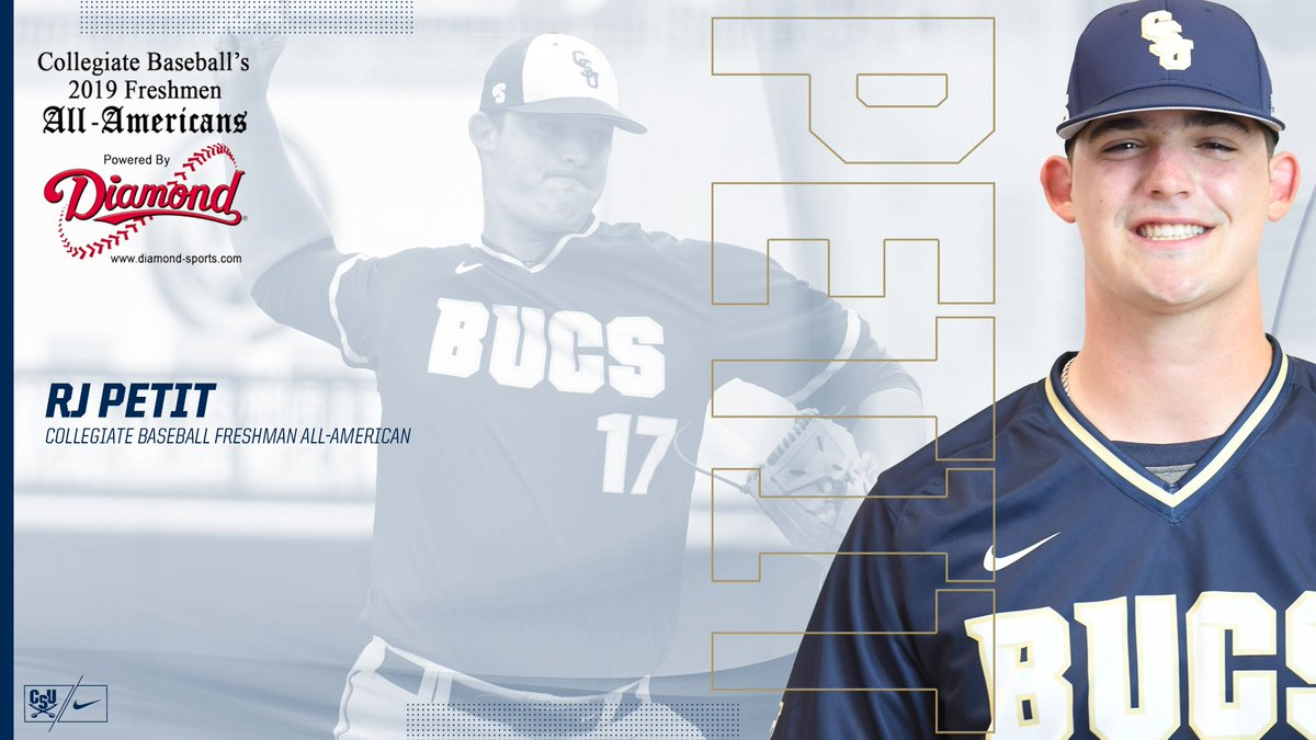 The 2019 accolades just keep coming for @rj_petit and @CSUBucsBaseball as the rookie flamethrower earns Collegiate Baseball Freshman All-American honors! #CharlestonMade #JoinTheSiege 🔗https://bit.ly/2Xs9TJt