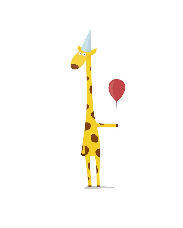 фея жираф на открытке с днем рождения одноэтажный домик
