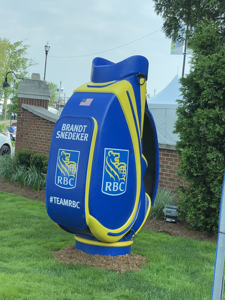 Think Travis, my caddy, is really excited for the chance to lug this thing around all week.. #10fttall #TeamRBC