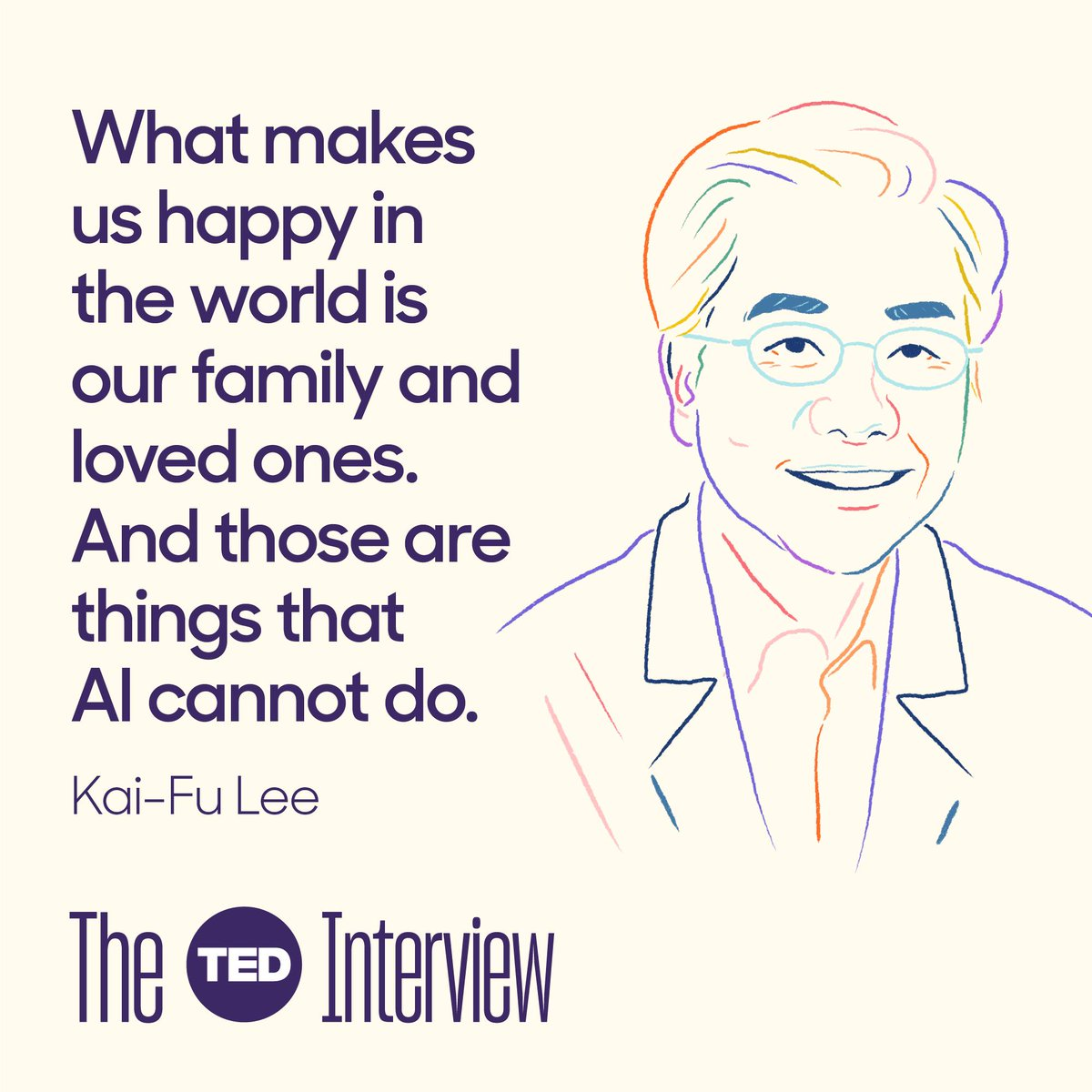 There are shocking implications in @kaifulee's vivid description of AI progress in the new episode of #TheTEDInterview.  https://bit.ly/2JRTk5w    But there's also this quote, which is the basis of some surprising predictions about new forms of work that will emerge.