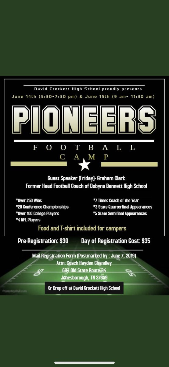 FOOTBALL CAMP INFO!!!  Less than 10 days til football camp in Pioneer Country! Come have fun, learn some football, & get to hear from one of the legends of East TN! Mail your registration in soon or drop it off at school!   Come get better with your local Pioneers! #PioneerPride
