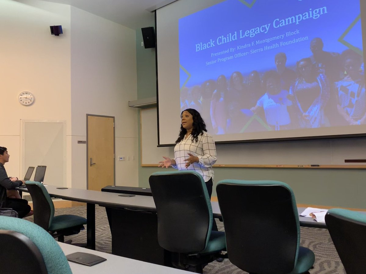 "Senior Program Officer @kfmblock giving a presentation on ""Reducing Child Mortality in Sacramento County: The Black Child Legacy Campaign. The scope of work was presented to students in the UC Davis Master of Public Health Program. @UCDavis_PHS"