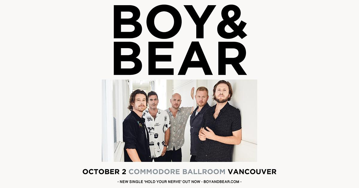 JUST ANNOUNCED: @BoyandBear are coming to the @CommodoreVCR on Oct. 2! RSVP for presale password and more info: http://bit.ly/2IlREim