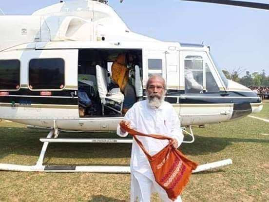 our new hero has taken helicopter to find his lost cycle after he sworn in as minister in Parliament...