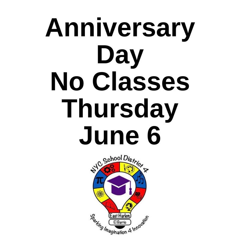 🗓️ REMINDER: Students do not attend classes June 6.