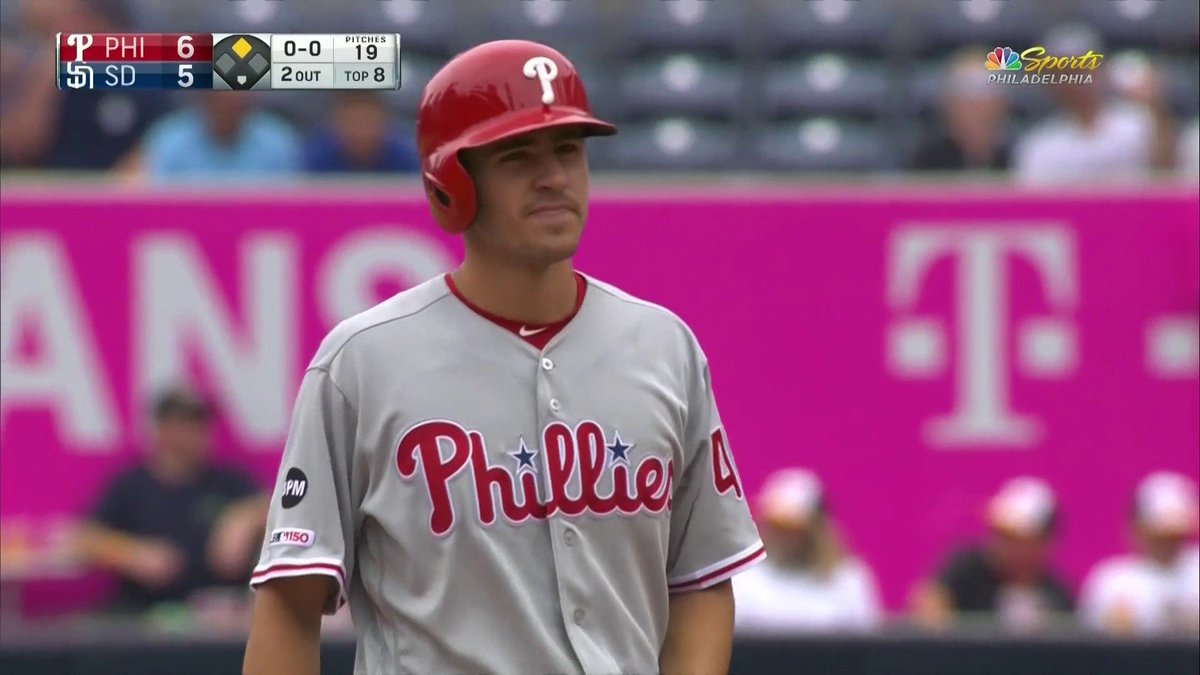THE LEAD AND THE KIDS FIRST BIG LEAGUE HIT!  Phillies are up, 6-5 compliments of Adam Haseley and his family couldn't be prouder ❤️
