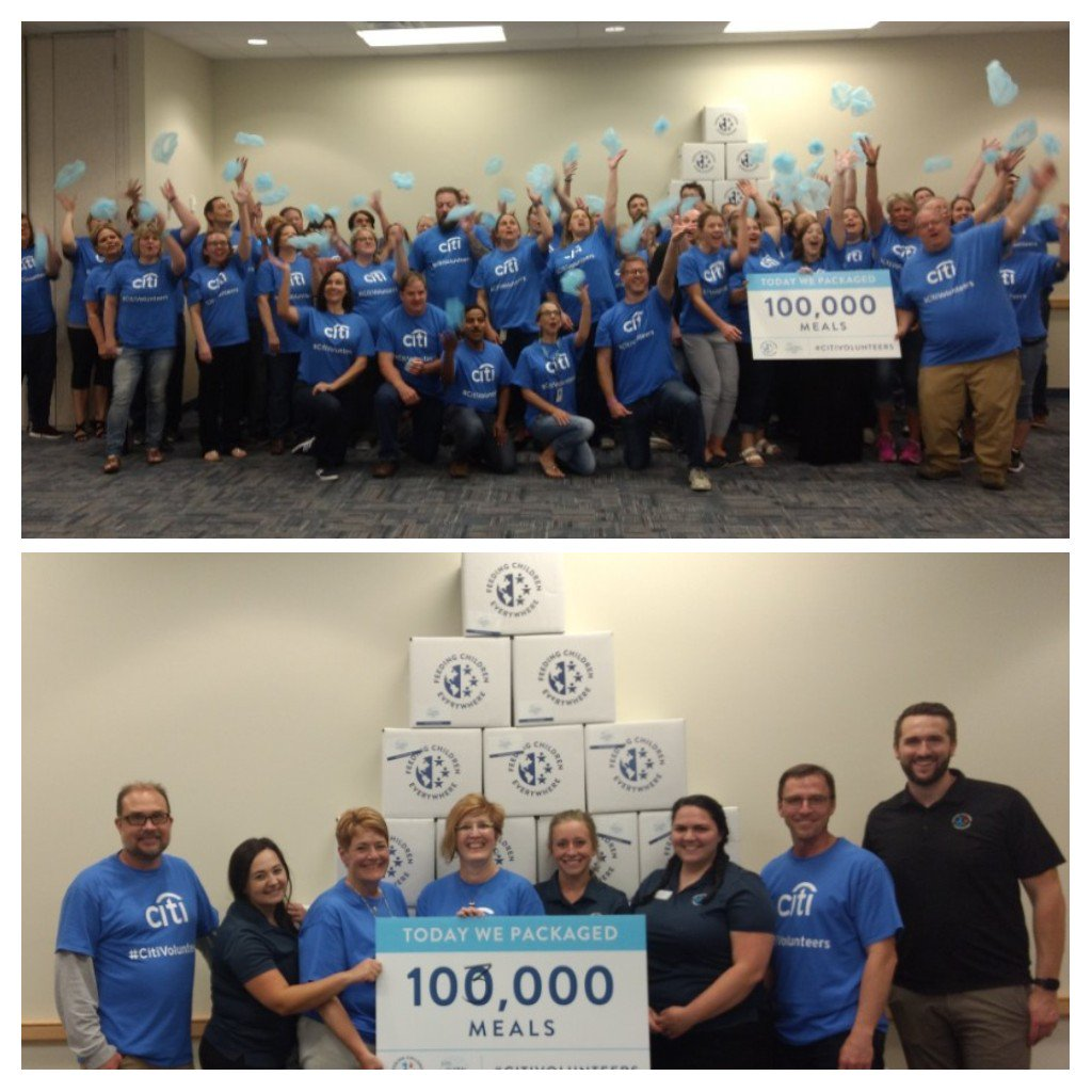 #Citivolunteers surpassed the goal of packing 100,000 meals through Feeding Children Everywhere! Thank you #Citivolunteers for packing 103,000 meals for @FeedingSD. Citi Sioux Falls volunteers rock!!!