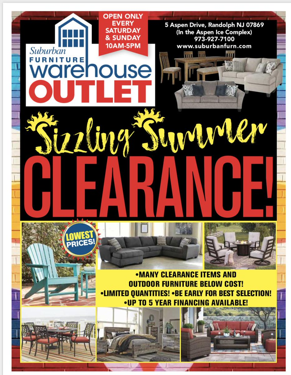 Our Suburban Furniture Warehouse Outlet Open This Saay Sunday 10 Am 5 Pm Aspen Drive Randolph Nj 07869 Randolphnj Summers