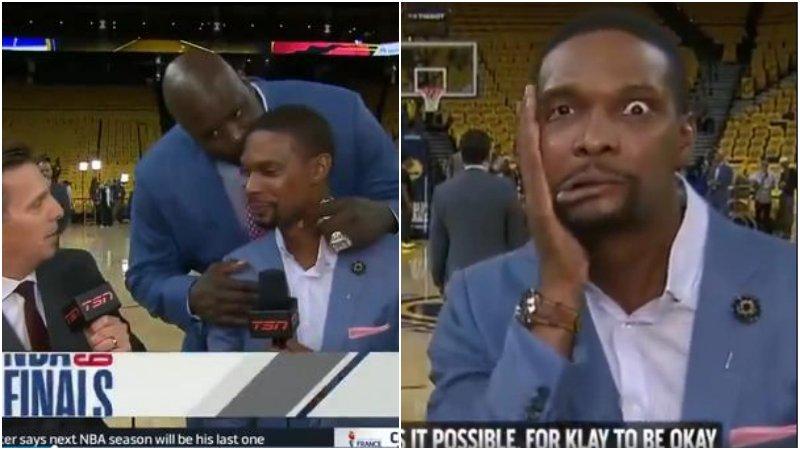 【影片】真會玩!歐尼爾賽前直播突然親吻Bosh額頭,龍王拚命擦口水一臉嫌棄!