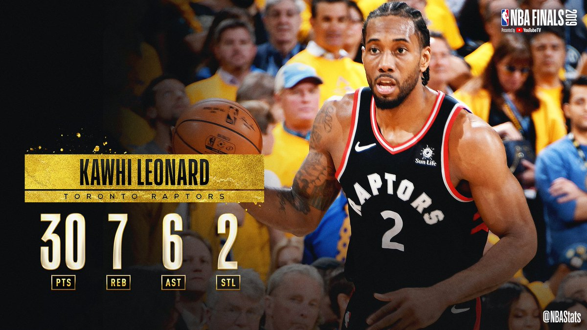 Kawhi Leonard's 13th 30-point game of the #NBAPlayoffs  leads the @Raptors to a 2-1 #NBAFinals lead! #SAPStatLineOfTheNight <br>http://pic.twitter.com/Xw1x8u3h6S