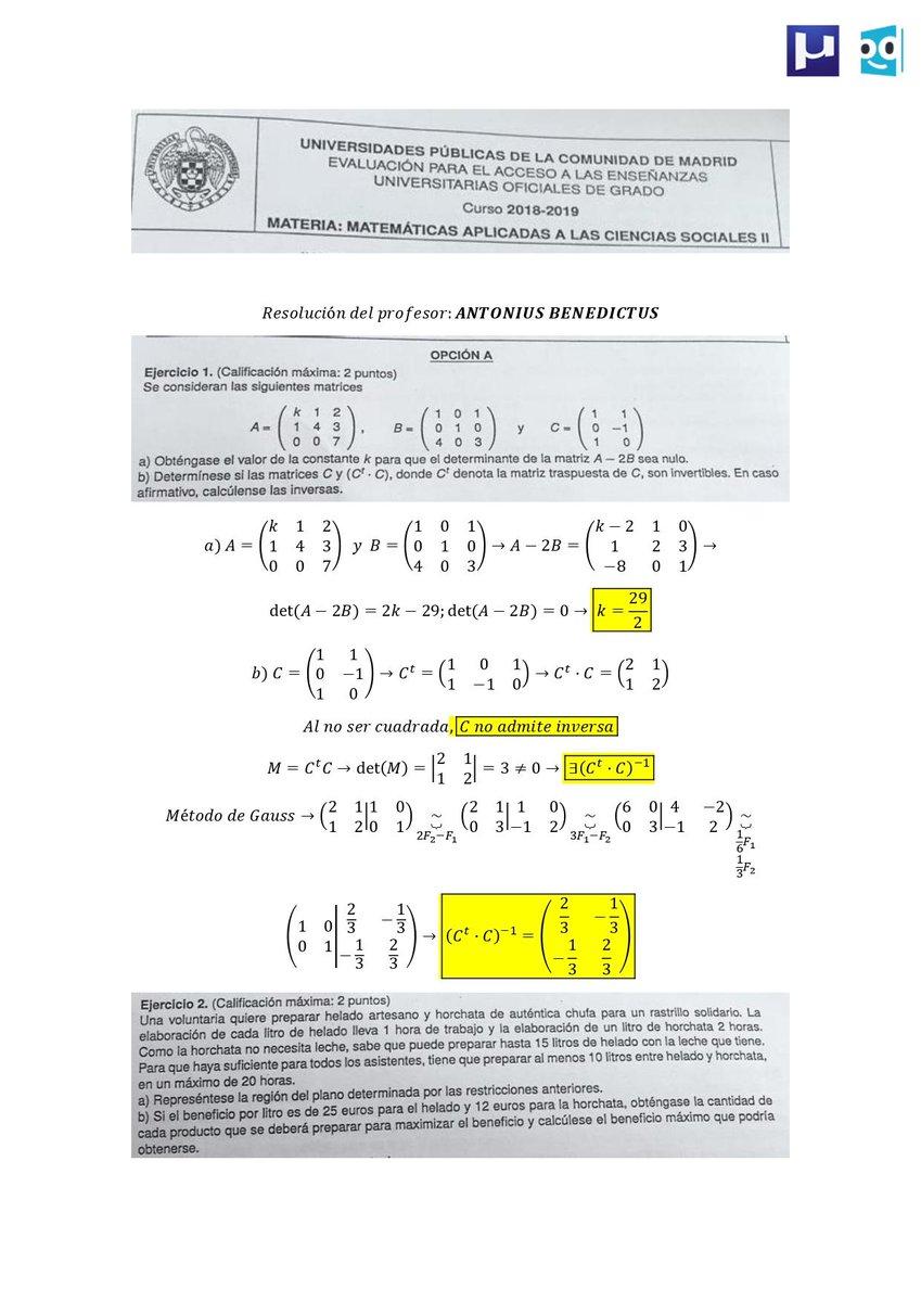 Unicoos A Twitteren 1 2 Examen Resuelto De Matemáticas Aplicadas A Las Ciencias Sociales De Madrid Selectividad Selectividad2019 Ebau2019 Evau2019 Https T Co Nhdjjsm6to