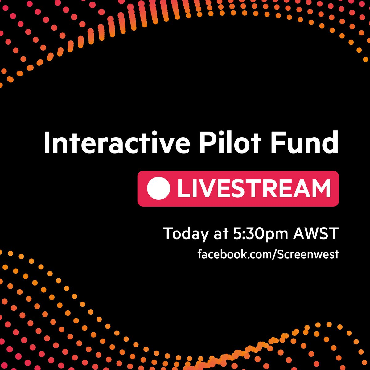 🎥🔴 We're livestreaming our #InteractivePilotFund Information session over on our Facebook page at 5:30pm AWST today ‼️  http://www.facebook.com/screenwest  The info session will end with a Q&A, so get your questions ready!  Interactive Pilot Fund Guidelines ℹ️ http://ow.ly/ccnM50uxPMi