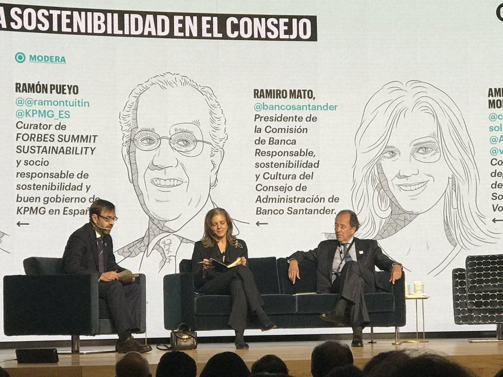 Amparo Moraleda, consejera de @caixabank en el #ForbesSTB destaca la vinculación de los empleados al #propósito de las compañías como clave en la cuenta de resultados, en la mesa del reto de la Sostenibilidad en los Consejos.
