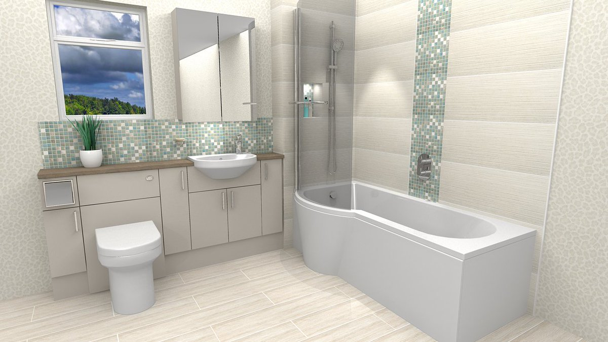 Take a look at this brilliant design - a perfect storage solution for a compact bathroom 😍 Featuring Flova Smart brassware; Deuco shallow depth fitted furniture; Imex Alma short projection semi-recessed basin, Alma rimless back-to-wall WC; Puracast Arco P-shaped shower bath