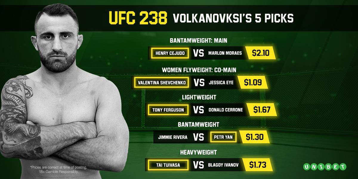 My picks for UFC 238   Bet now: https://bit.ly/2WhZFK7