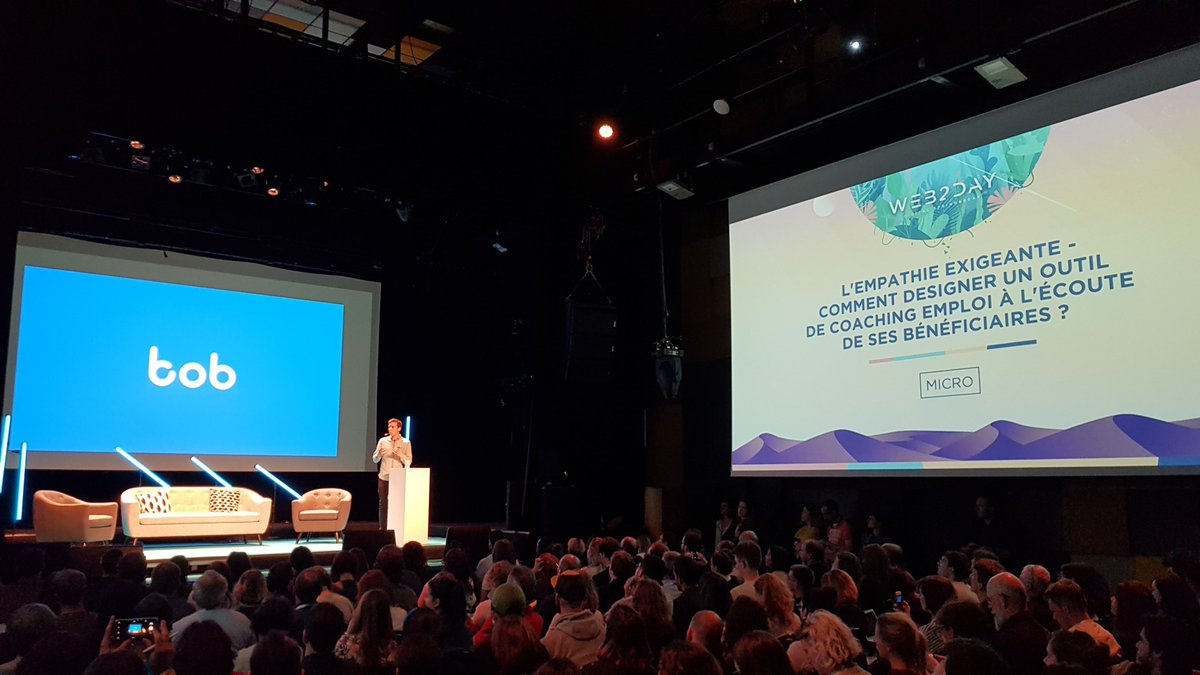 . @John_Metois, Bayes Impact's Product Designer, described at #Web2Day how we build Bob, our tool for jobseekers, with one core value: empathy. It enables understanding and, even more importantly, action. <br>http://pic.twitter.com/H5dtZpcVcA
