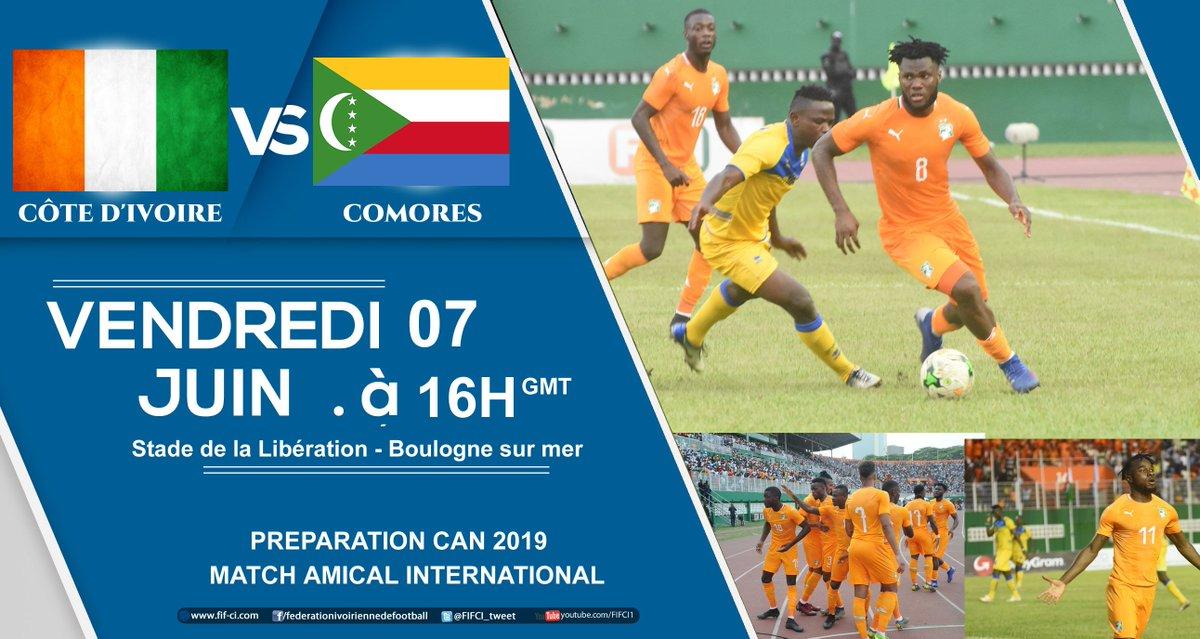 Préparation #CAN2019 - Etape France : Match Amical #CIV - #COMORES , au stade de la Libération de Boulogne sur mer à 18h00 heure locale (16h00 gmt)  NB: ce match sera télévisé sur la RTI https://t.co/K27x24yBL4