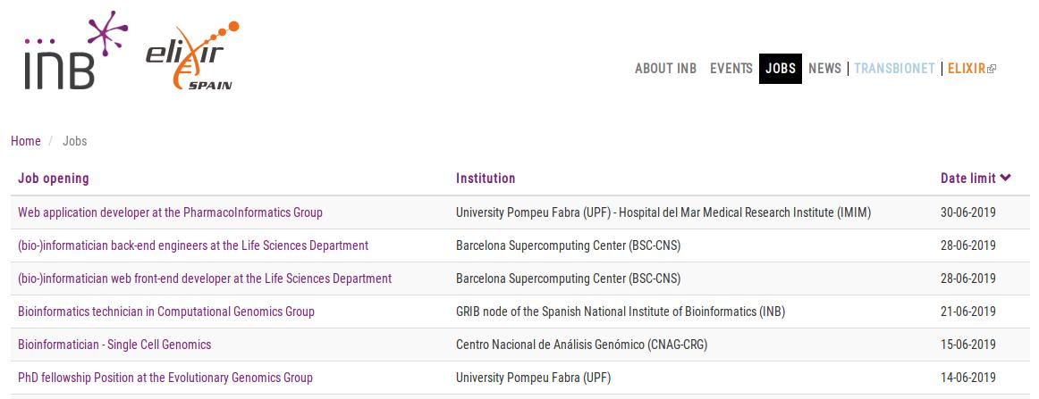 The INB nodes have several open positions for bioinformaticians, engineers, developers, technicians, and even for students willing to do a PhD 👩🏽💻👨🏽💻 Have a look in the jobs section 👉🏽 https://inb-elixir.es/jobs