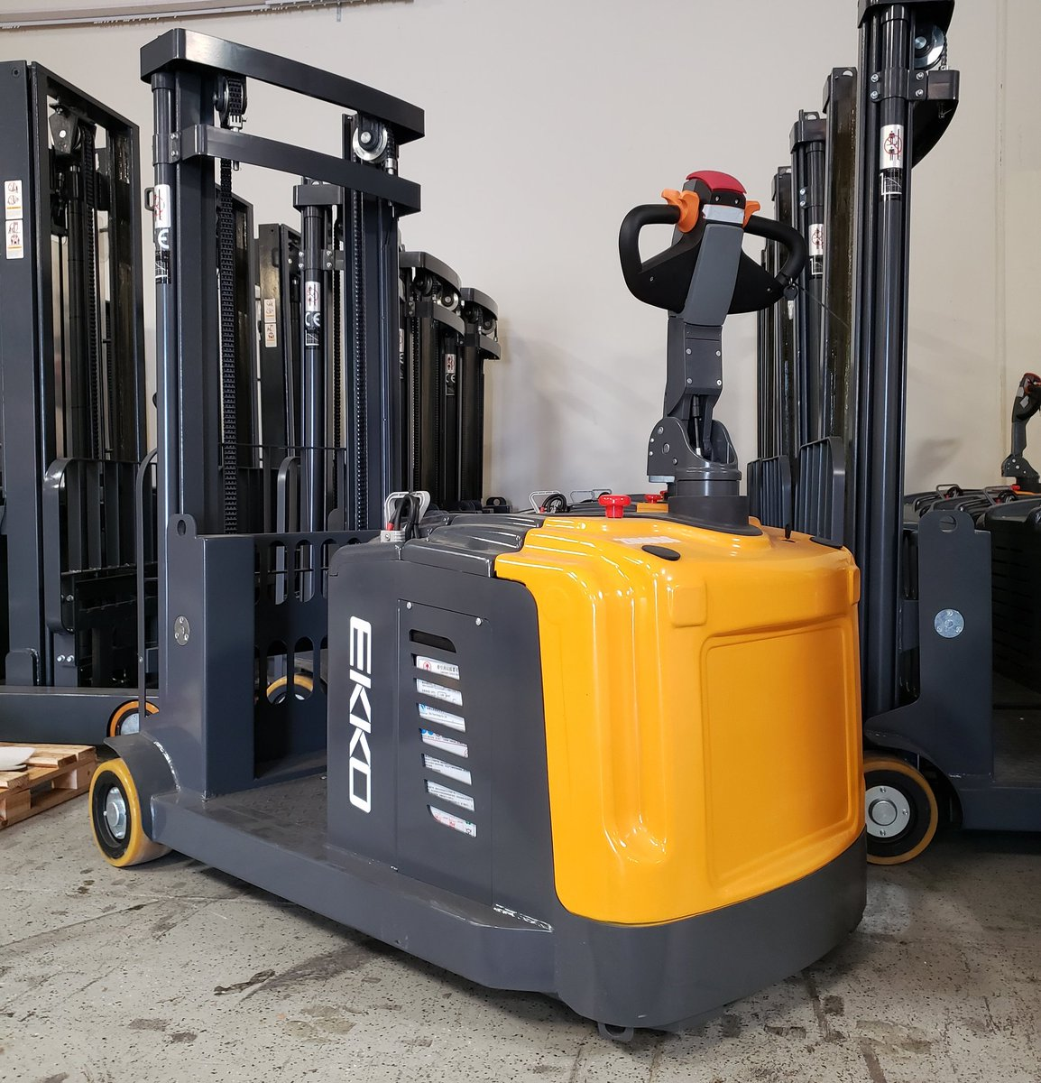 "Check out this #EK14 Counterbalanced Pallet Stacker, 3300lbs Capacity, 118-130"" Lift, AC Drive, EPS, Curtis Controller, 210Ah Battery. http://www.ekkolifts.com  #materialhandling #palletstackers #palletjacks #walkiestackers #walkiepalletjack #reachtruck #reachtrucks #distribution"