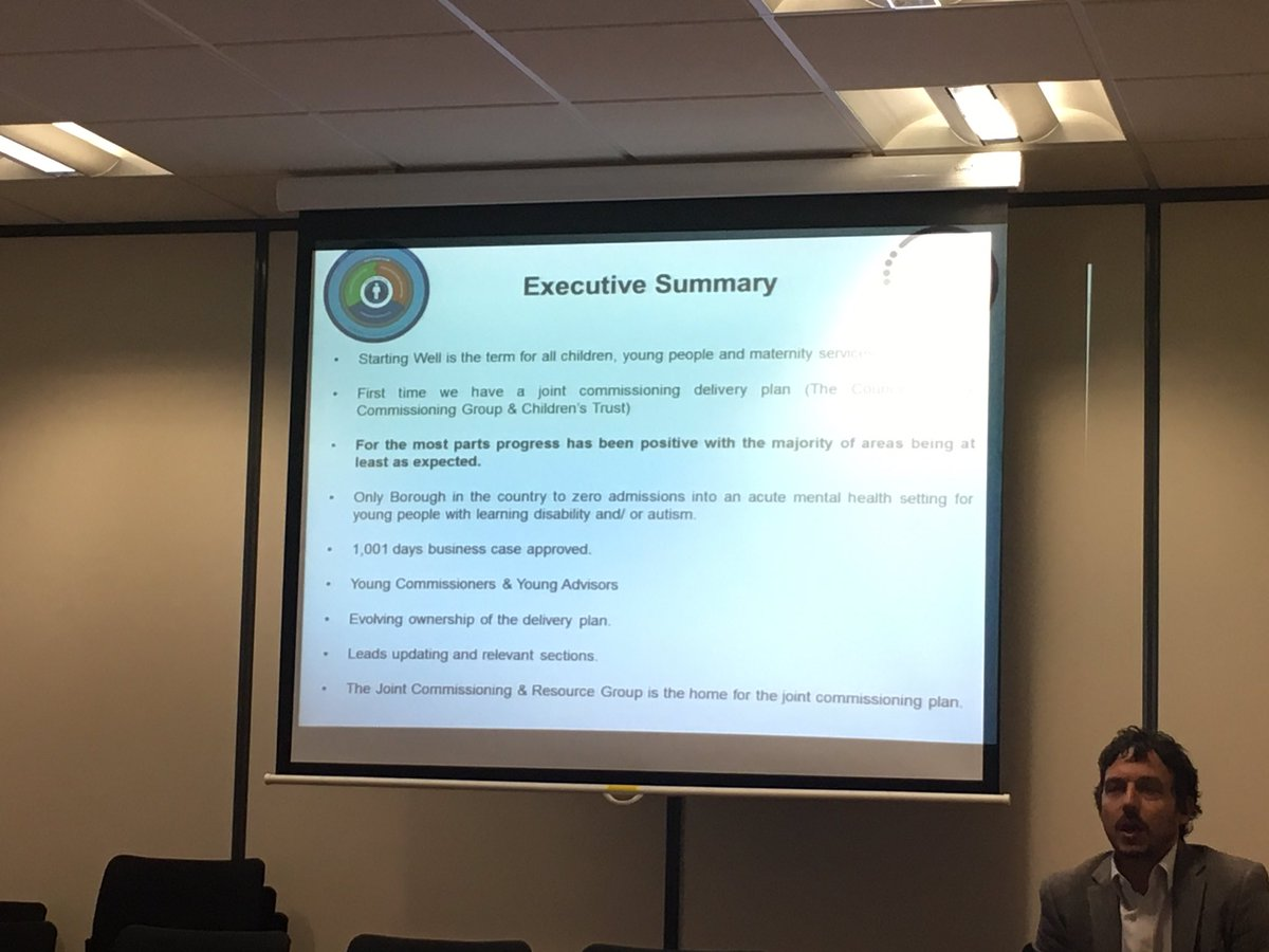 .@LeeGolzeFF takes #dccgGB through #startingwell. Key message is that #doncasterisgreat is the only borough in the country to have zero admissions into an acute mental health setting for young people with a #learningdisability and/or #autism. Fantastic work by all  <br>http://pic.twitter.com/wrQEJtSS2n