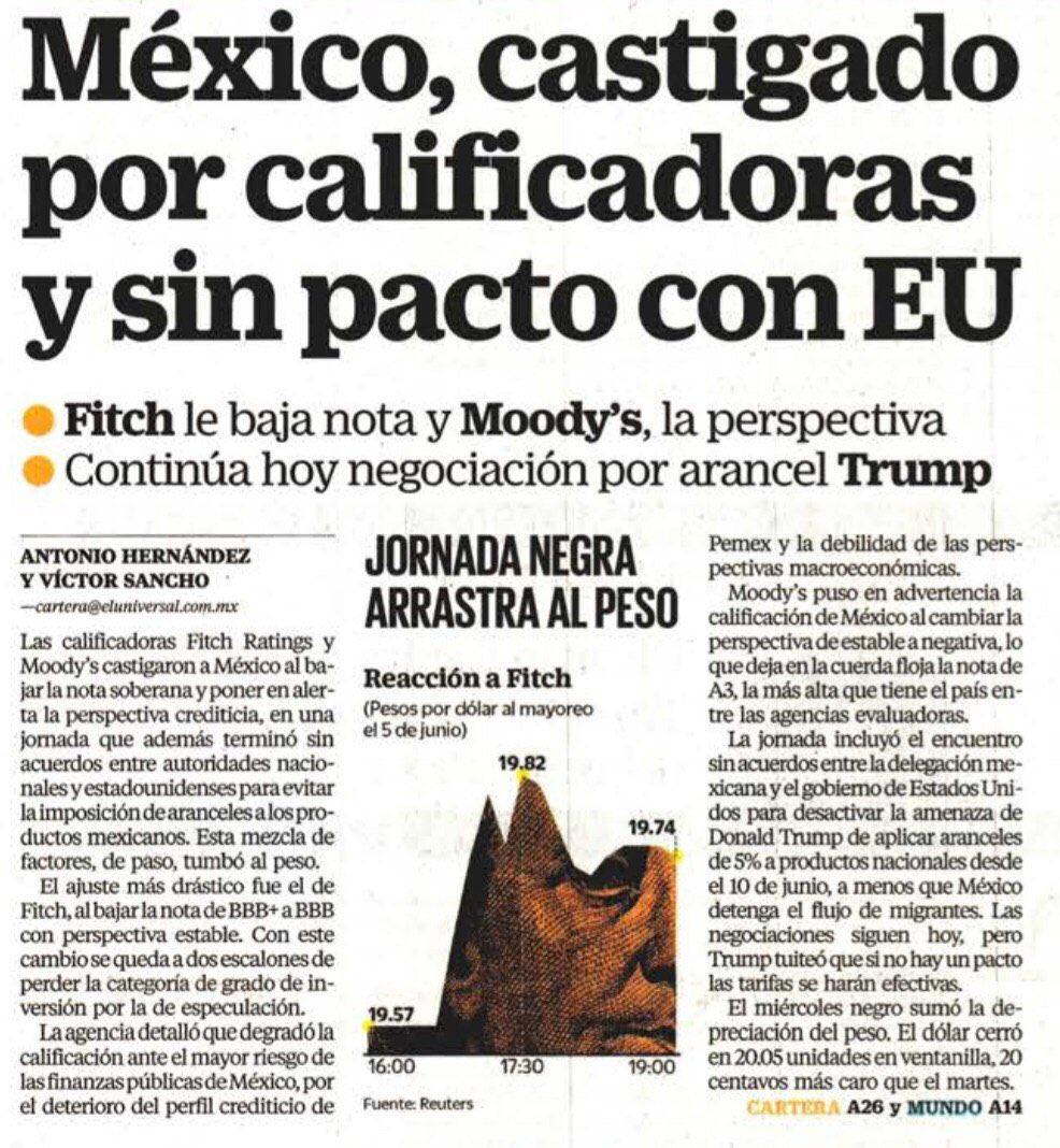 #ALERTA🚨Calificadoras internacionales ponen a #México en negativo por el pésimo manejo económico y por otro lado @GobiernoMX no logra buen acuerdo arancelario con @POTUS. Presidente @lopezobrador_, urge que corrija malas decisiones económicas, en eso contaría con @AccionNacional