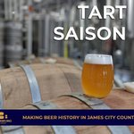 Tart Saison fermented in #local @TheWmbgWinery Wine Barrels. Aromas of champagne, citrus rind, and kiwi. This light bodied, tart and crisp Saison is highly carbonated and delivers flavors of peach, apricot, fresh pears, tart cherries, lemon. #newbeer #localbeer #vacraftbeer