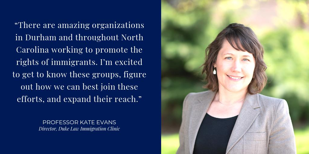 Kate Evans will join the Duke Law faculty on July 1 as a clinical professor and director of a new clinic focused on immigration law and policy. ➡️ https://bit.ly/2Wj07rD