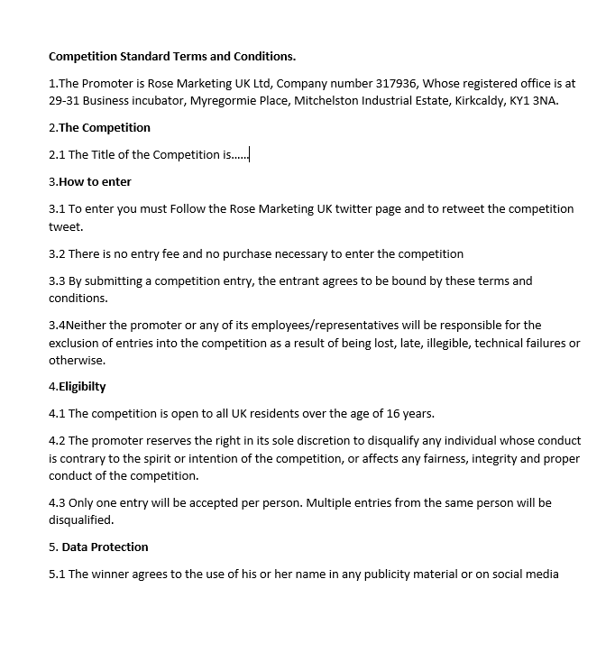 Terms and Conditions for all competitions and giveaways.