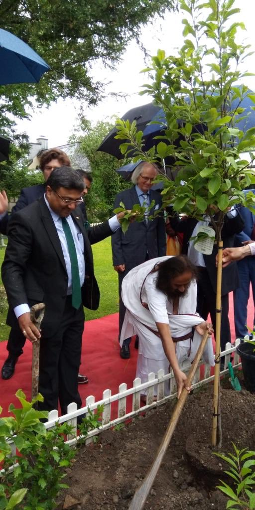 Gurudev Sri Sri Ravi Shankar, Founder of Art of Living, joined the tree plantation drive in Berne on Jun 6.  The plantation drive was part of the celebrations to commemorate the 150th birth anniversary of Mahatma Gandhi. @MEAIndia @ICCR_Delhi
