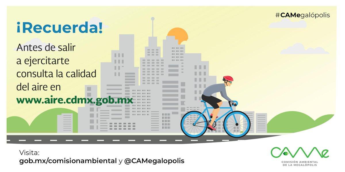 ¿Mañana sales a hacer ejercicio? 🚴♀🚵♂🏃♀🤸♀🤾♀⛹♂Verifica antes la calidad del aire: ➡http://www.aire.cdmx.gob.mx/