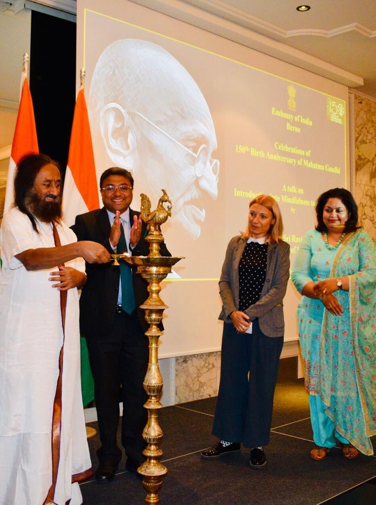 CELEBRATING MAHATMA GANDHI IN SWITZERLAND: Glimpses of Talk by Gurudev Sri Sri Ravi Shankar in Bern on Jun 6 to commemorate 150th  Birth Anniversary of Mahatma Gandhi. Attendees included Members of Swiss Parliament, Ambassadors, Mayors and Friends of India. @MEAIndia