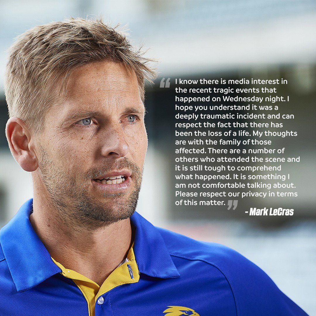 Mark LeCras has asked for some privacy after being involved in a traumatic and tragic car accident on Wednesday night.  Full statement from Lecca.