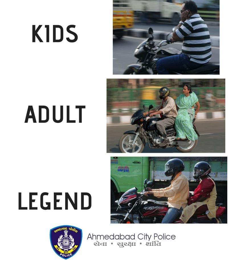 Safety of pillion rider is as IMPORTANT as the rider! Be a Legend! Always wear a helmet. Be Responsible. #CitizenFirst #MaruAmdavad #RoadSafety #FridayMotivation <br>http://pic.twitter.com/wFXZDWYU12