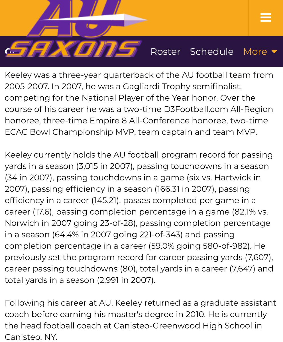 What if I told you that at the end of the 2007 season @pkeeley2 had a 166.31 passer rating? How about a career passer rating of 145.21? Both program records that won't be touched (@30for30 voice). Just one of your proud teammates Keels! What a time it was!