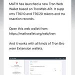 Image for the Tweet beginning: MATH launched Tron Web Wallet
