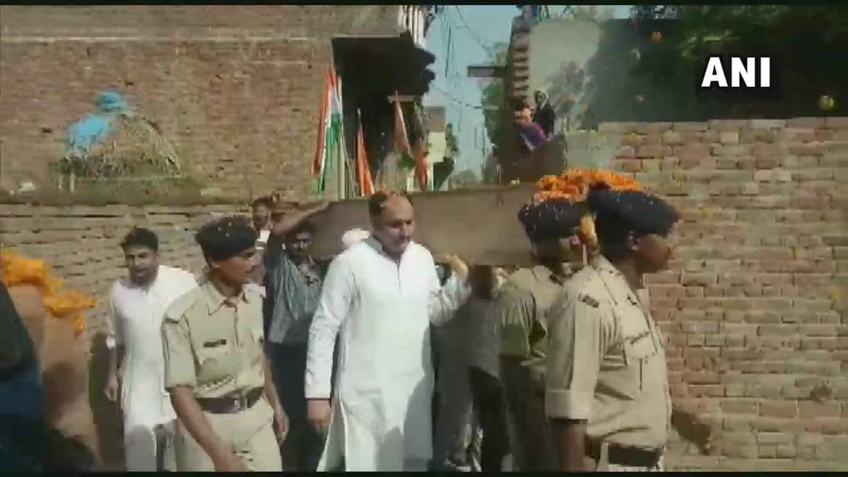 Shamli: Mortal remains of CRPF Constable Satendra Kumar brought to his residence in Kiwana village. He lost his life in Anantnag terror attack, in Jammu & Kashmir, on June 12.