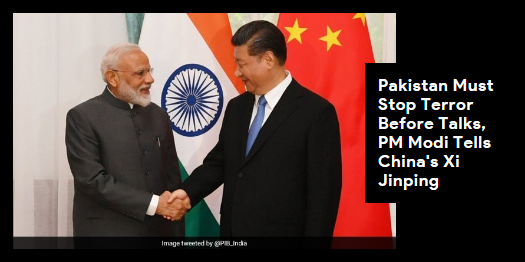 Lead story now on http://ndtv.comPrime Minister Narendra Modi has reiterated India's stand that Pakistan should take concrete action against terror before talks can resume. PM Modi is on a 2-day visit to #Bishkek.Read here https://www.ndtv.com/india-news/pakistan-must-stop-terror-before-talks-pm-narendra-modi-tells-chinas-xi-jinping-2052860…#NDTVLeadStory