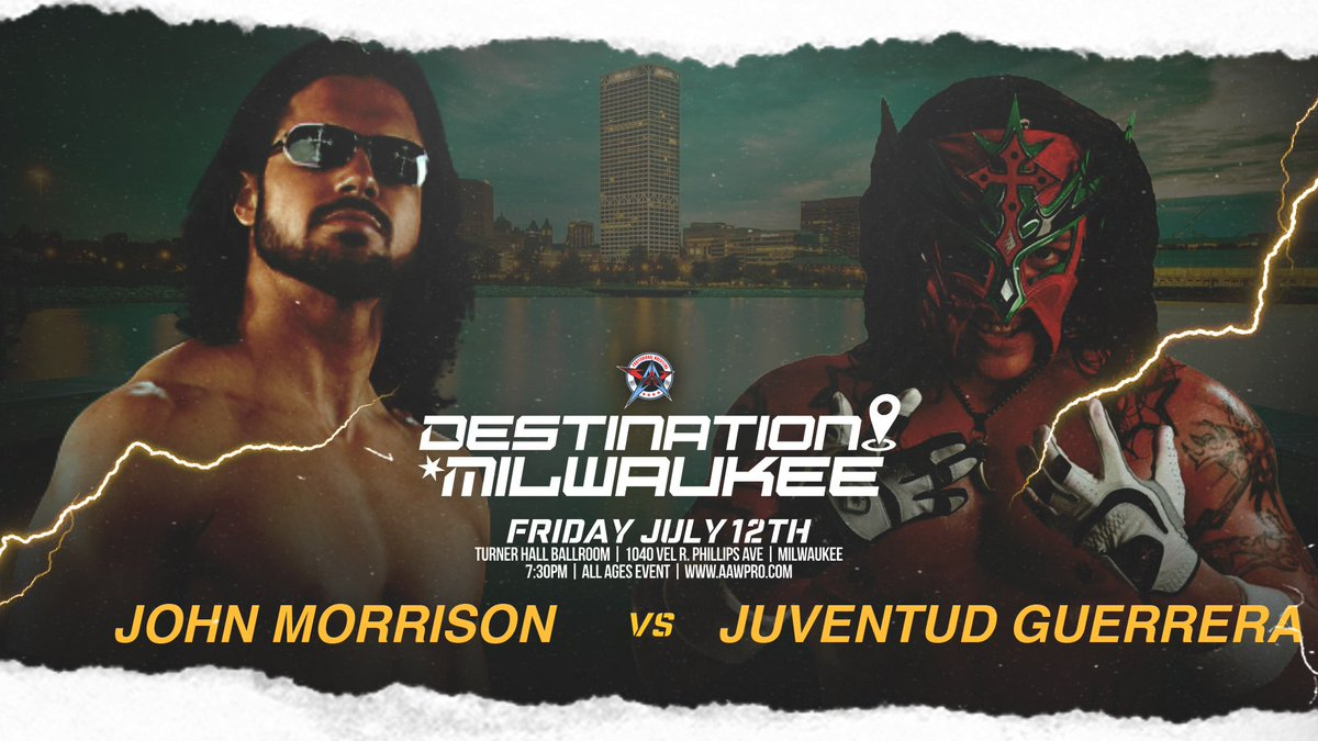 We are counting down the days until we debut in Milwaukee   Destination Milwaukee  7/12/19 @PabstTheater Turner Hall   Already signed: @TheRealMorrison vs. @JUVENTUDGUERRE2   Get your tickets now at https://pabsttheater.org/event/destinationmilwaukee2019/ … #AAWMKE #AAW #Milwaukee #Wrestling