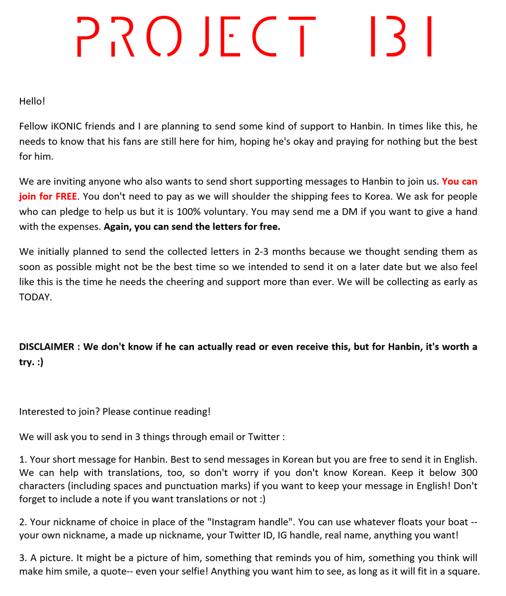 #PROJECT131  Please support this mini project for Hanbin! Just a little something to make him feel our love and support and to cheer him up. Invite your friends to join and help spread the word by RT-ing this post!  Deadline: June 30 2019  #StandWithHANBIN  #HANBINSTAYWITHUS<br>http://pic.twitter.com/fbIbSf5lgV