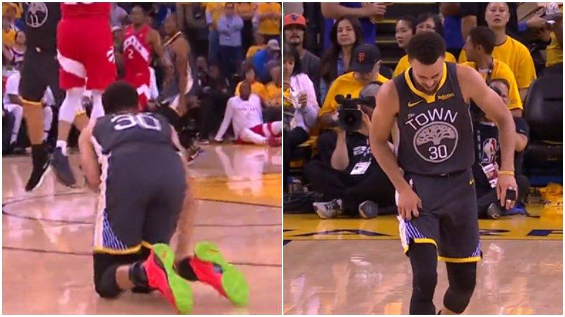 【影片】Curry右大腿撞到小Gasol的膝蓋,一瘸一拐表情非常痛苦!