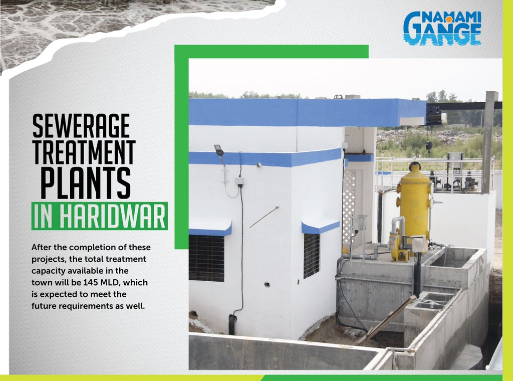 After the completion of these projects in Haridwar, the total treatment capacity available in the town will be 145 MLD, which is expected to meet the future requirements as well. #NamamiGange