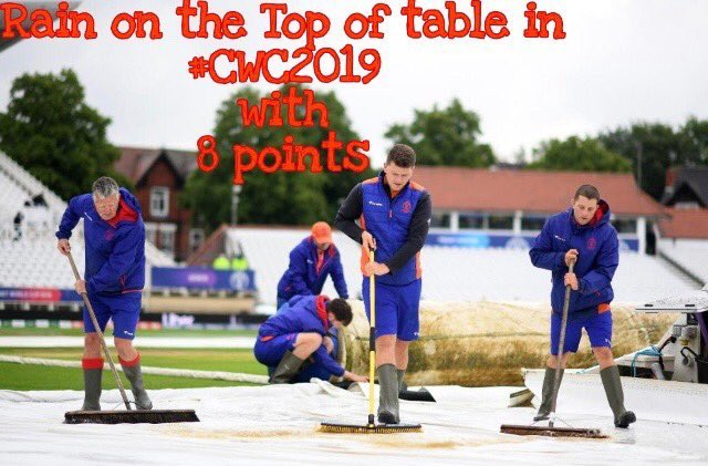 Rain won 4th match in this world cup   Top on the table with '8' points   Guess how many points rain will score?   Pic credit @cricketworldcup   #ICC #CWC19 #CWC2019 #WorldCup #INDvsNZ #NZvIND #BACKTHEBLACKCAPS #TeamIndia#MeninBlue #IndiaWinWC2019 #Tentaran #TentaranSports<br>http://pic.twitter.com/TnCZixy4hk