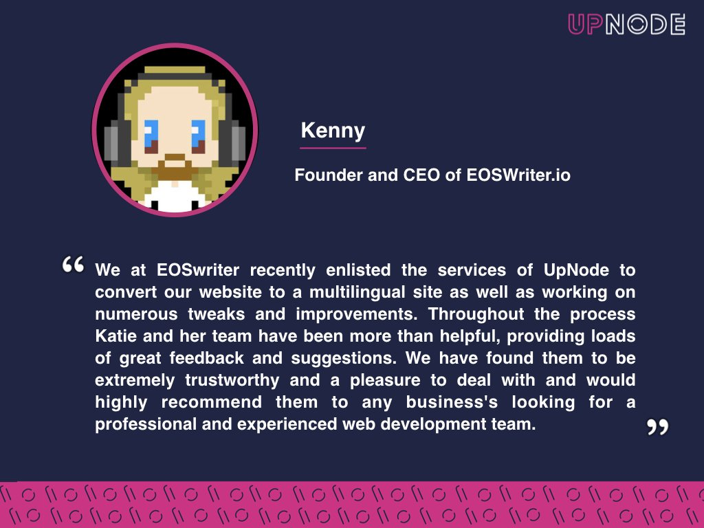 Over the time working together, our clients often become friends and we really appreciate this dynamic. Thank you Kenny for such an amazing review. It was a pleasure to work with @eoswriter and I hope one day we will #buidl  together again. #EOS #EOSIO #Crypto