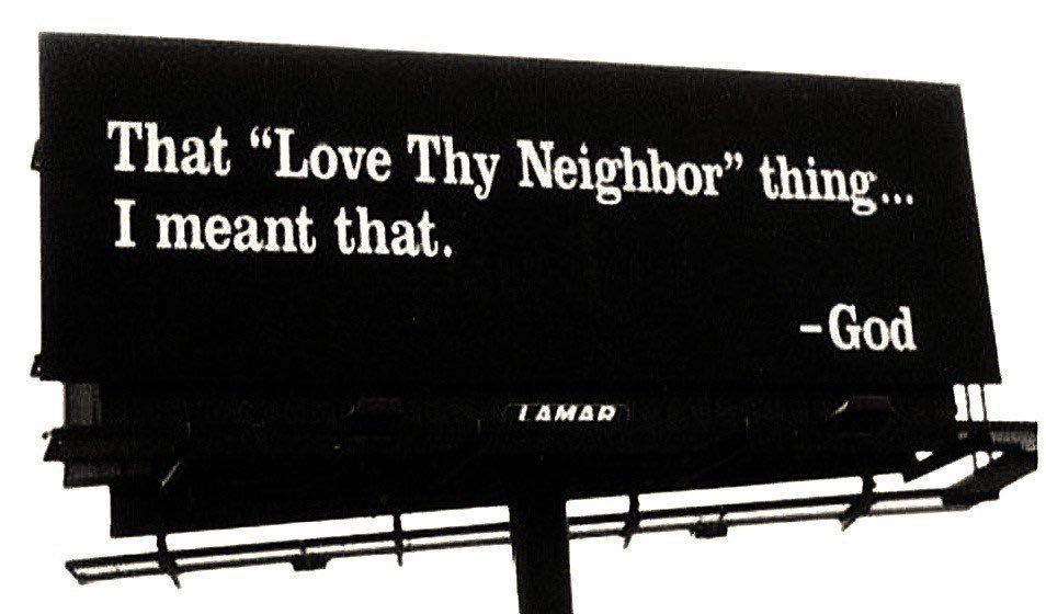 """Dear 'Christians': """"God bless America"""" is not complete in Christ. Christ gave us two great, connected commandments: Love God. Love our neighbors. """"Neighbors"""" isn't relative to proximity and does not accommodate prejudices. """"Neighbors"""" is beyond nation and rejects nationalism. <br>http://pic.twitter.com/bZ1CpnOOhC"""