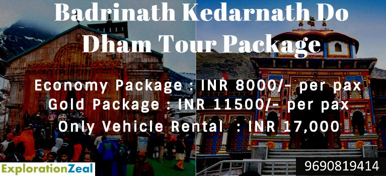 Badrinath Kedarnath Do Dham Yatra ExplorationZeal presents Tour Packages that fits your requirement. It is a 5D4N package, with stay in Rampur, Badrianath and Pipalkoti. Kapat for these pilgrim centers has opened for devotees. Choose your best package: