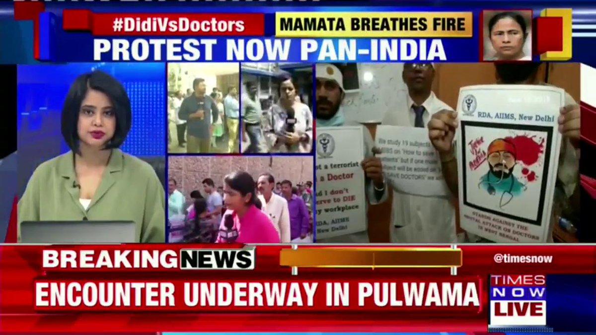 #DidiVsDoctors | Protest continues in SSKM Hospital in Kolkata. Emergency doors still shut down.Ground report by @SreyashiDey from Kolkata.