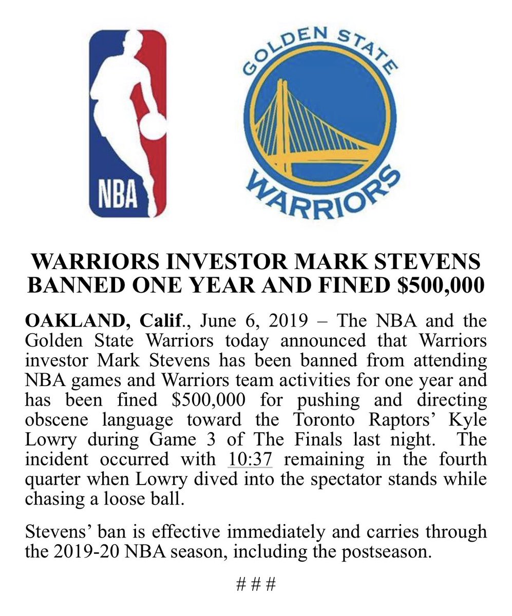 Warriors Year By Year: Warriors Investor Mark Stevens Banned For A Year And Fined