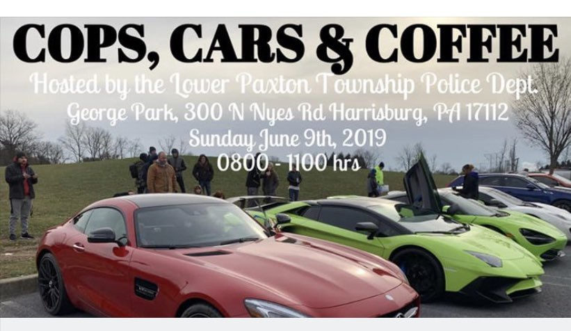 Hope to see ya Sunday! Cops, Cars & Coffee... #lppd #lowerpaxtontwp #ourcommunity